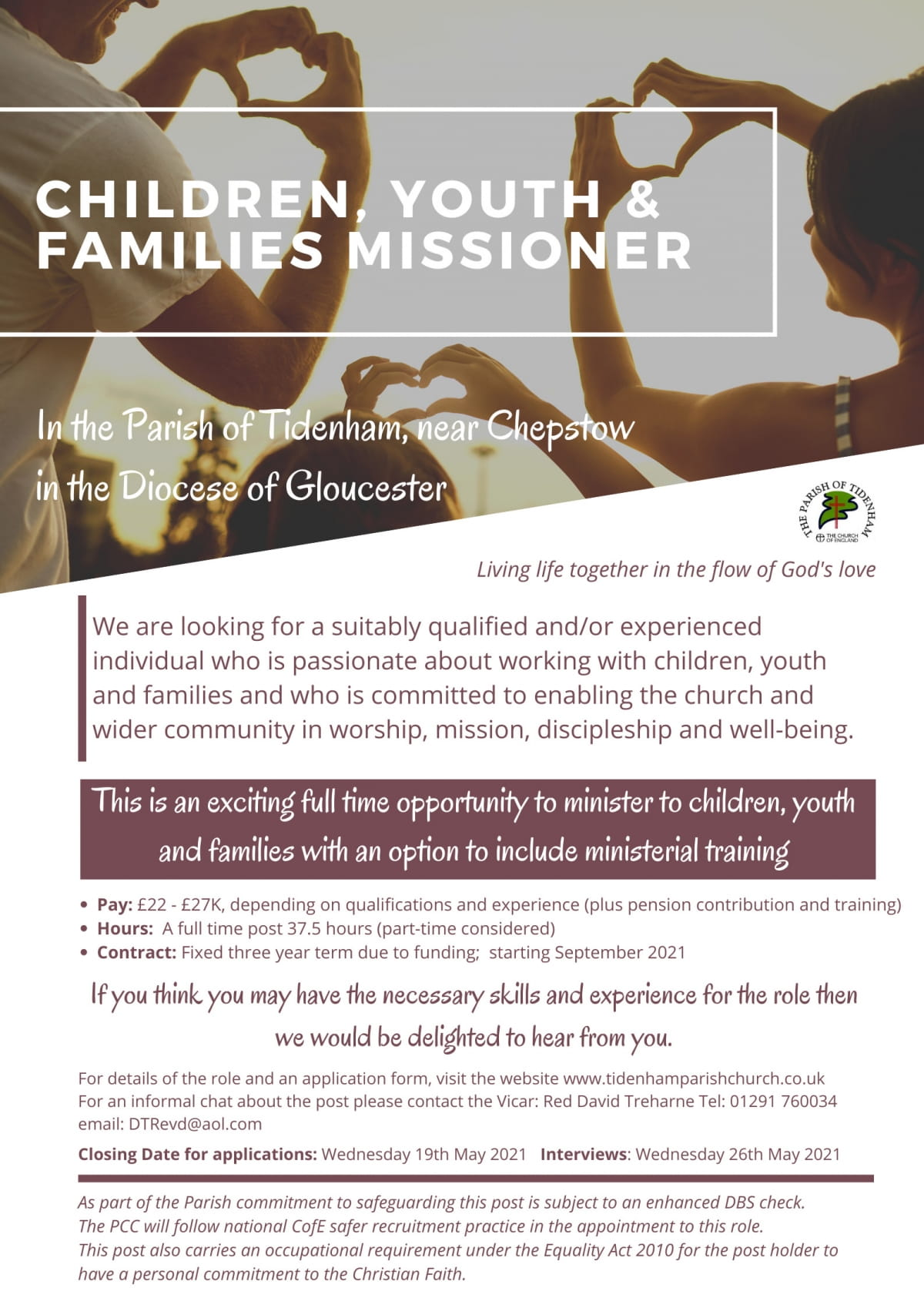 Children, Youth and Families Minster job advert