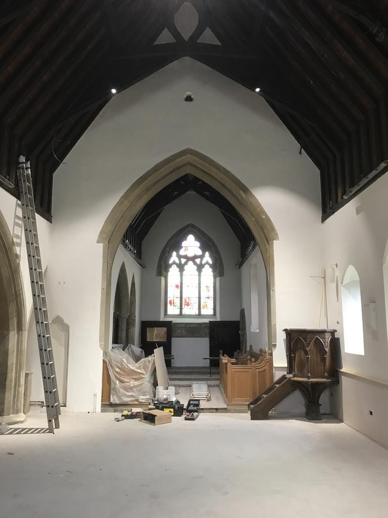 Church cleared ready for tiling