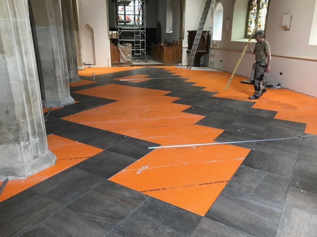 Tiles being set out